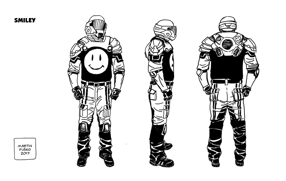 Smiley. Yepp, that´s a nod to Watchmen, as requested by the writer.