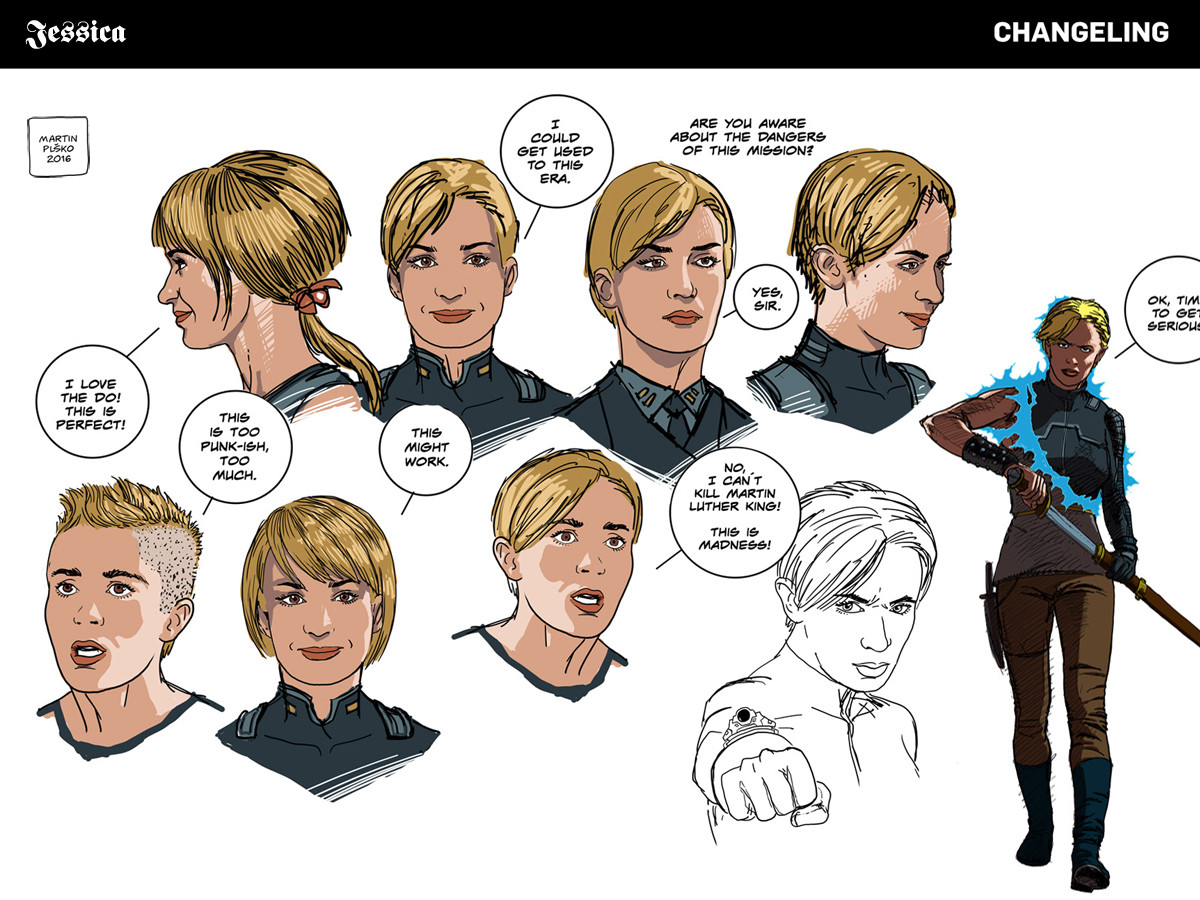 Jessica Tanner, special forces agent, expressions study.