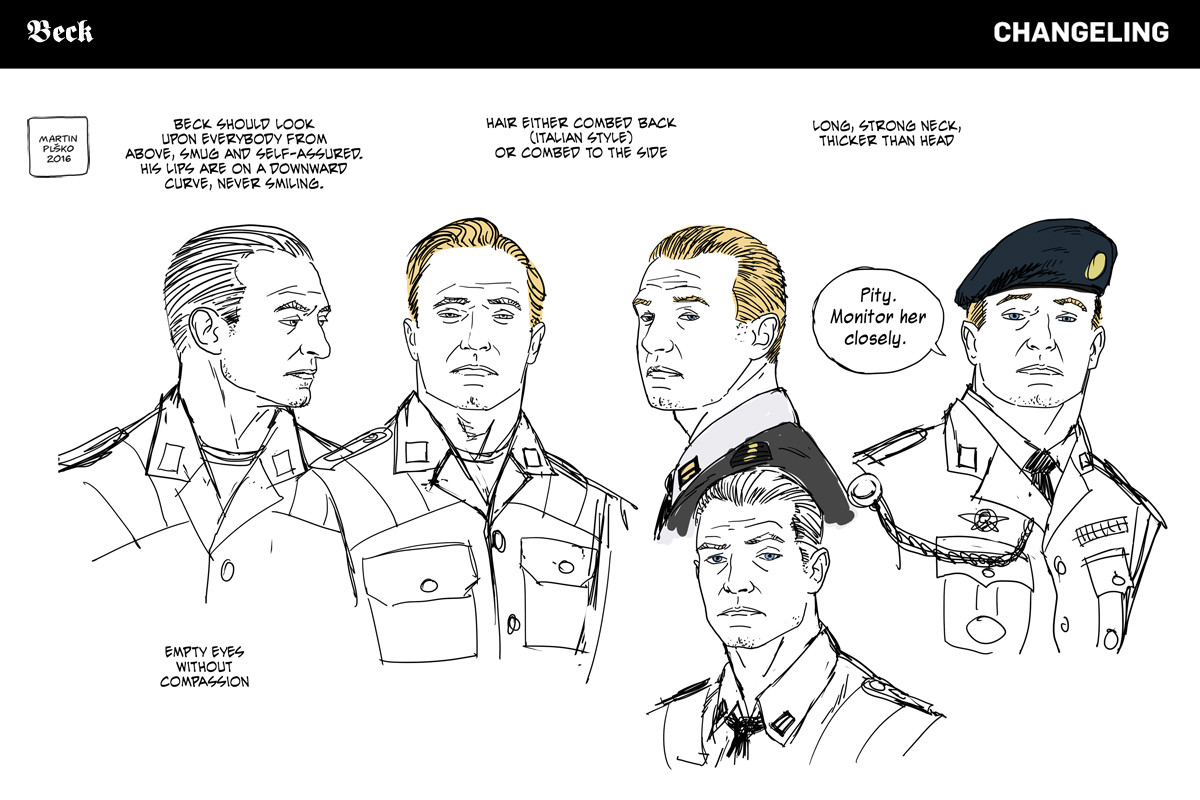 Major Victor Beck, Oberstabsarzt, expressions study.