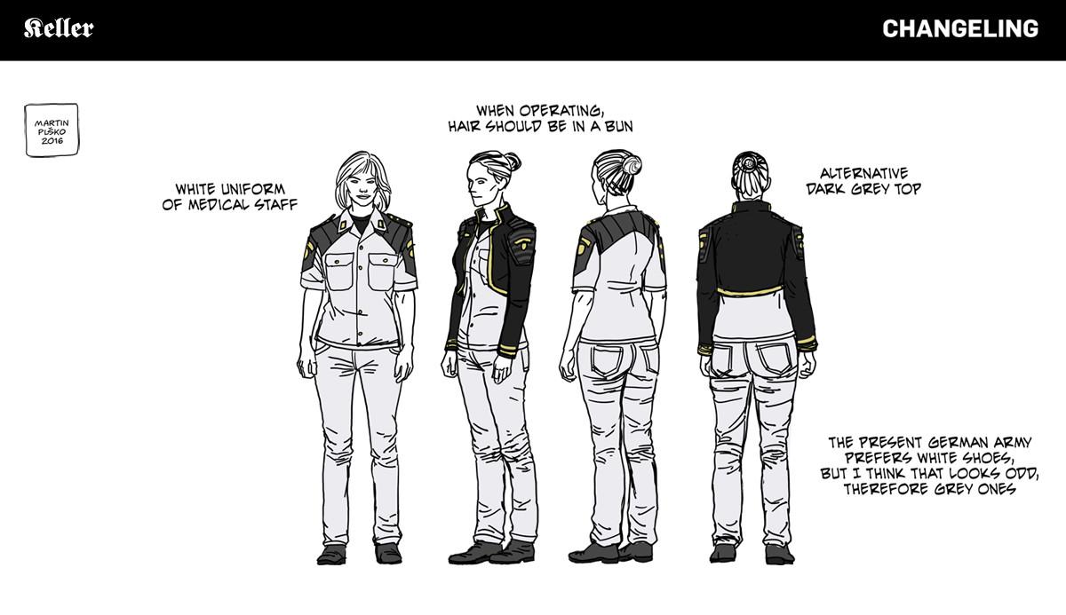 Captain Rosa Keller, Hauptmann, uniform concepts.