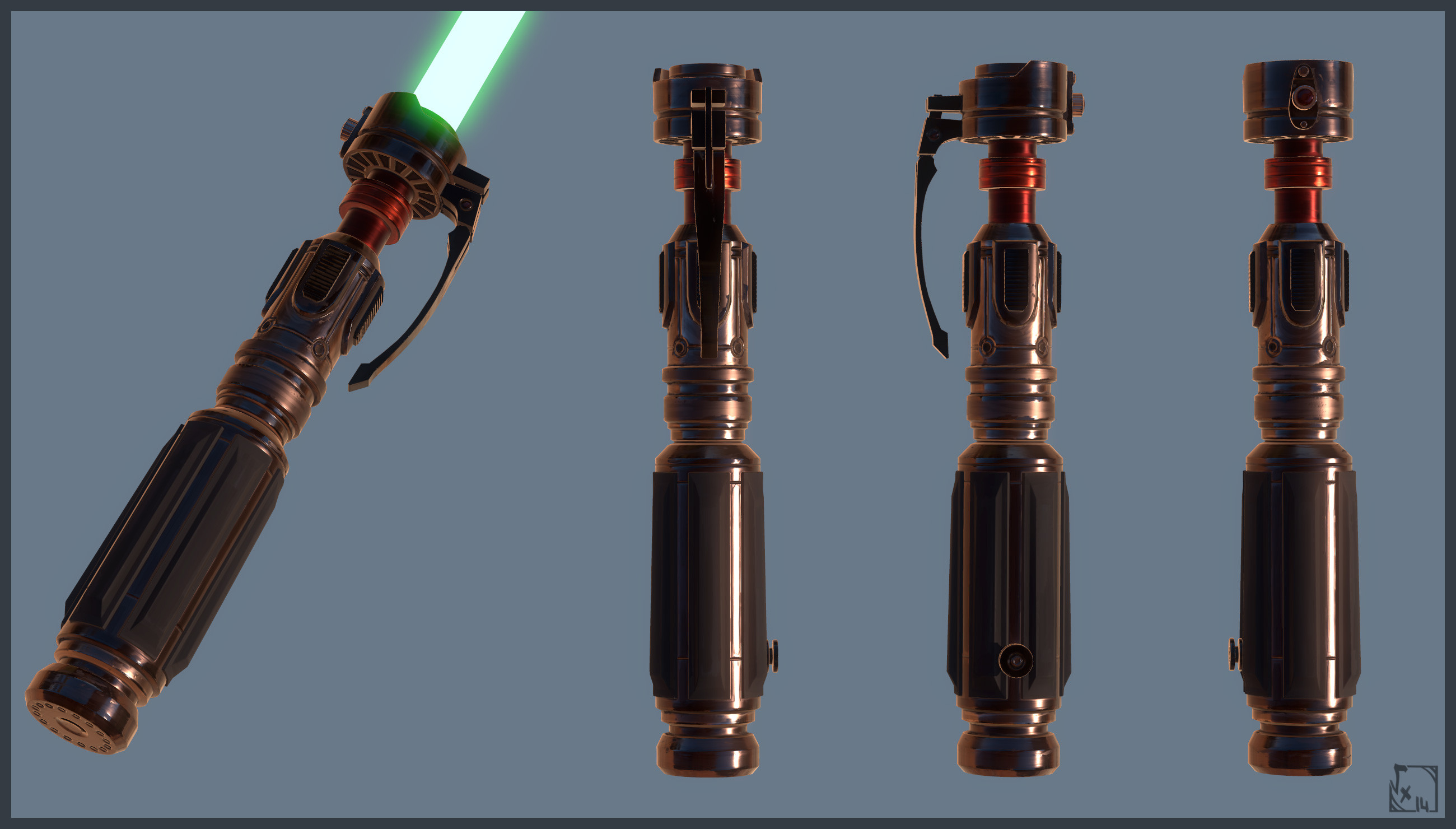 Mevenn's LightSaber - I used 3DCoat but only for the diffuse/AO/Normal map, the rest was done in photoshop & marmoset. Highpoly/Lowpoly/UVs done with 3dsmax/3DCoat 2K PBR Maps ( Diffuse/Roughness/Metalness/AO/Emissive/Normalmap )