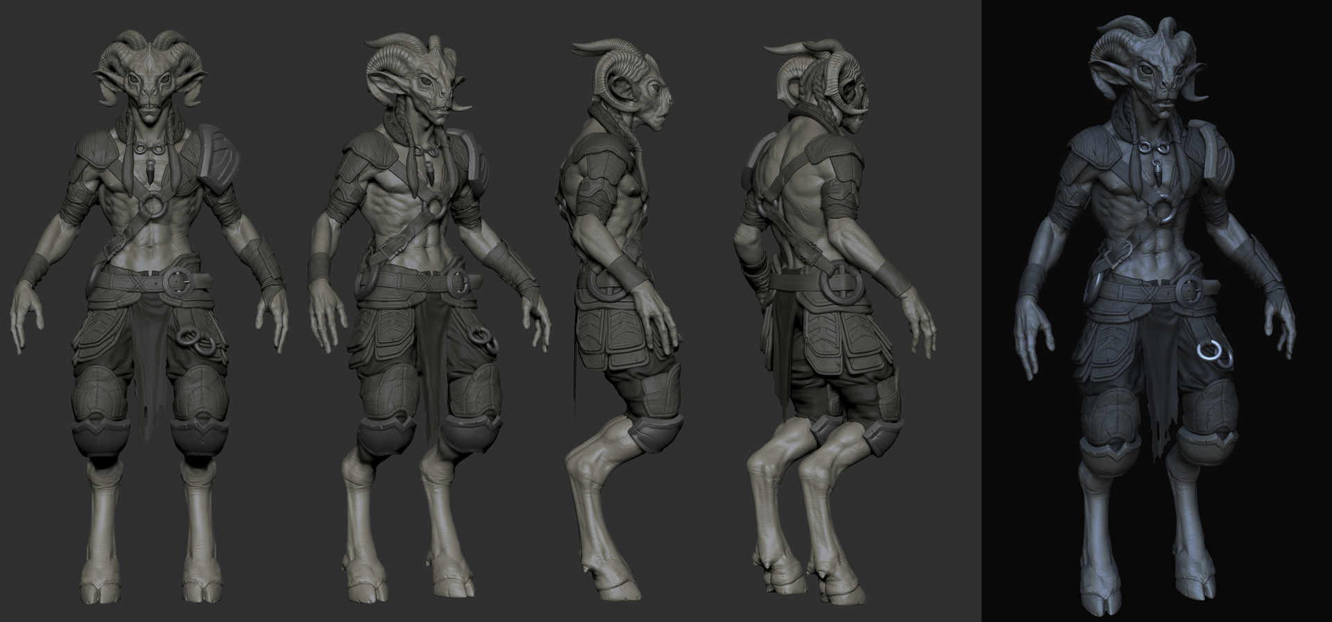 Amy Wip artstation - warrior faun wip, amy ash