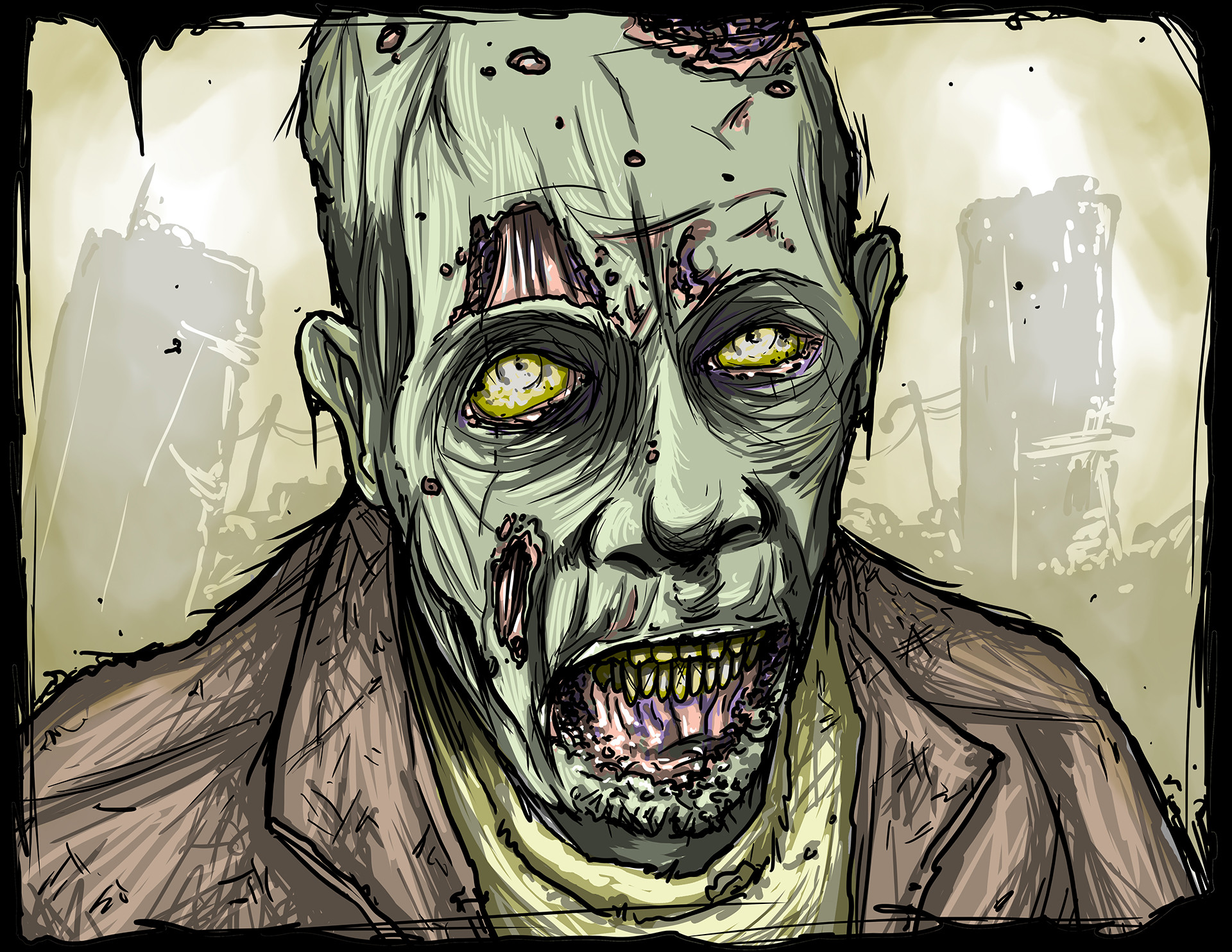Mike johnston ruinedworld zombieportrait movie
