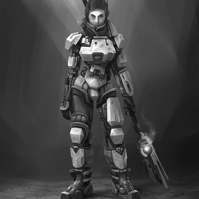 Tom garden sci fi woman soldier