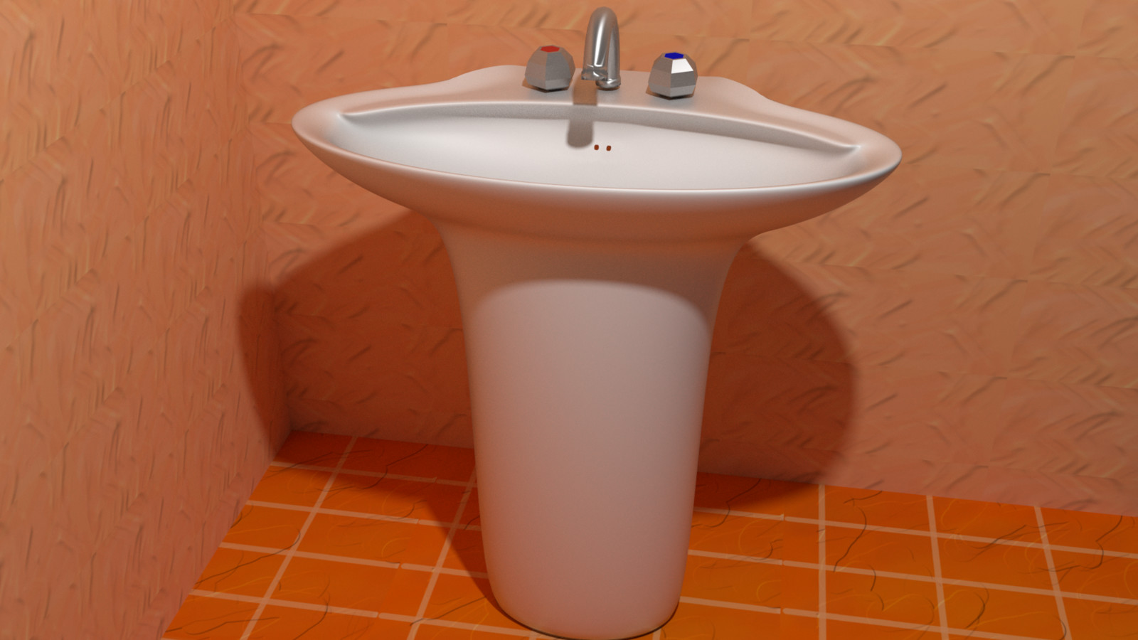 3D Wash Basin, front view