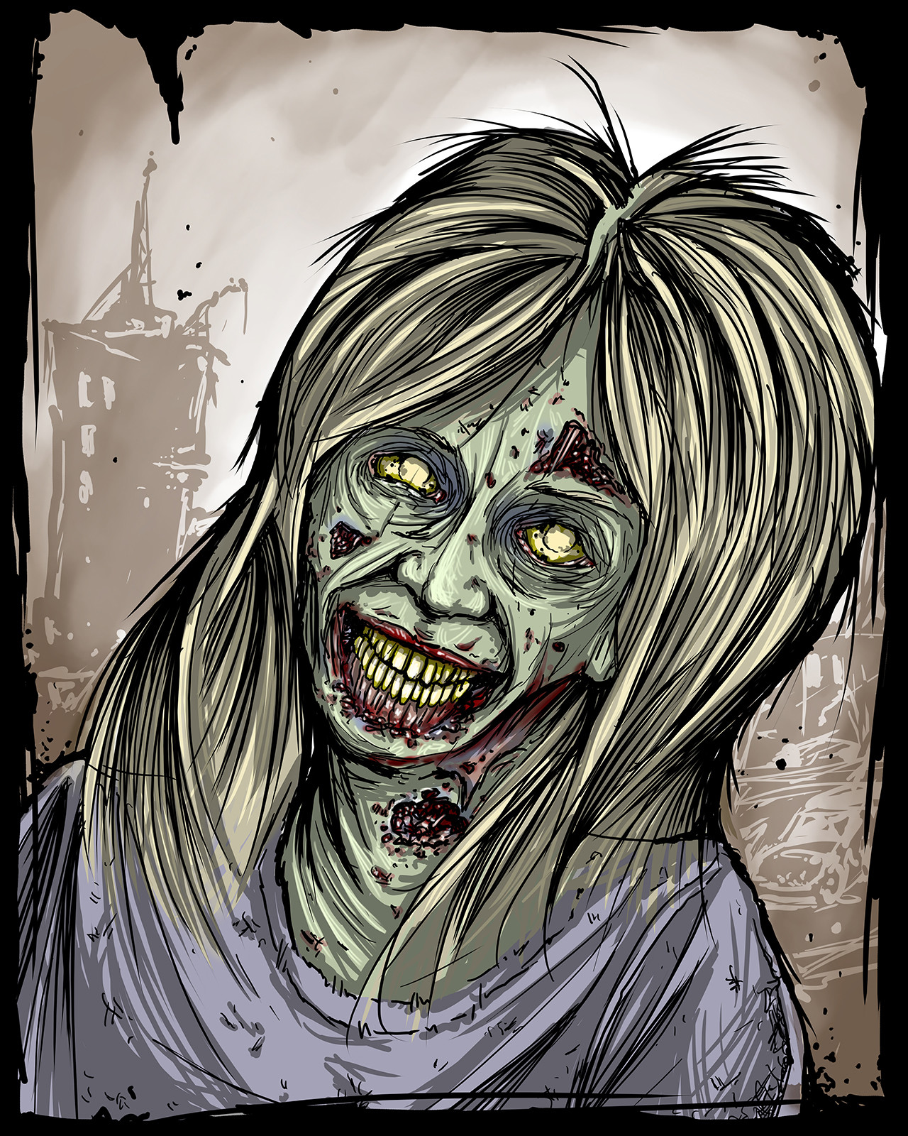 Mike johnston ruinedworld zombieportrait linneaquigley