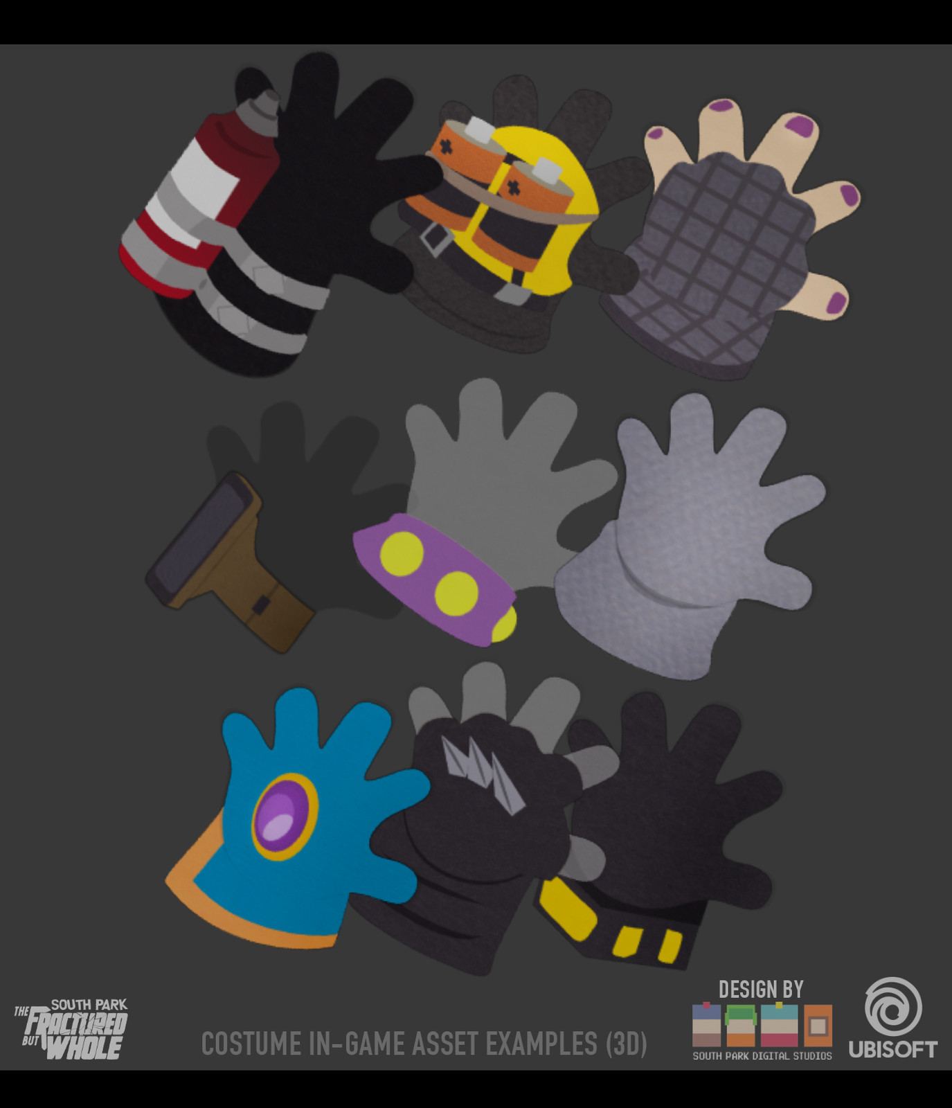 Selection of gloves made in Maya - Original Designs by South Park Digital Studios.