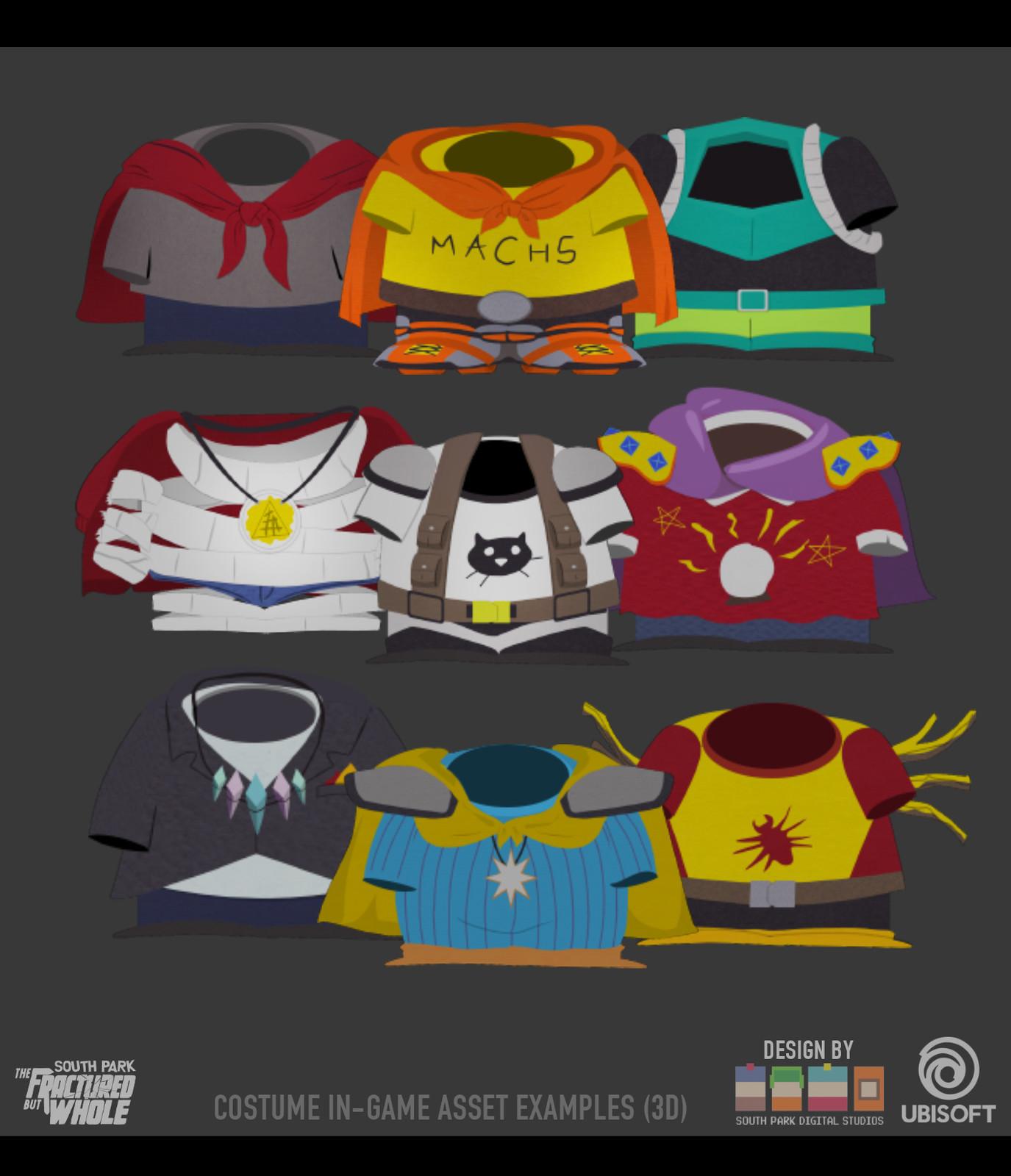 Selection of costumes made in Maya - Original Designs by South Park Digital Studios