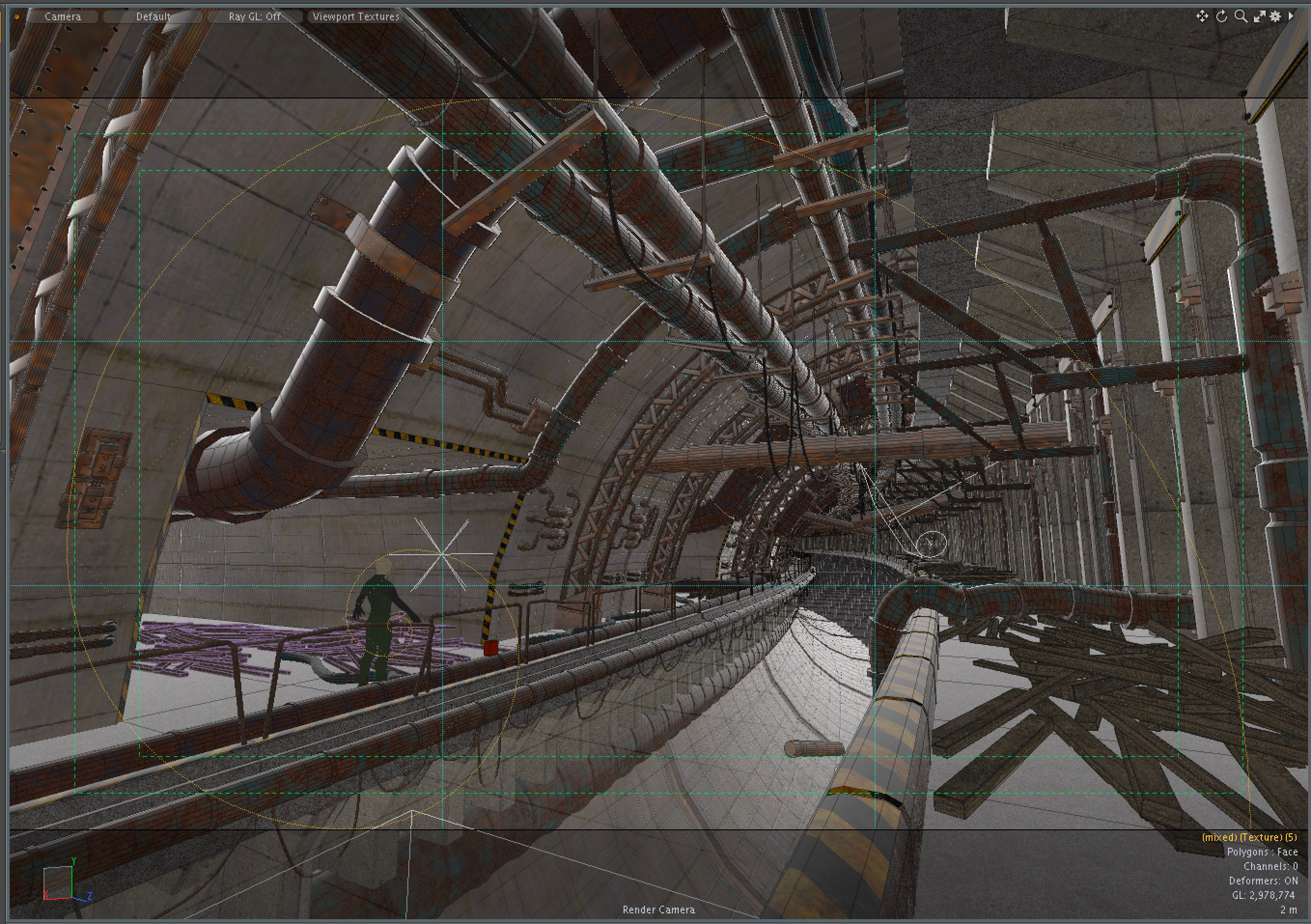 The scene was entirely constructed in Modo, with a bit of help from the model bashing kit. A lot of the objects were repeating elements which were later combined and bent to create the tunnel shape.