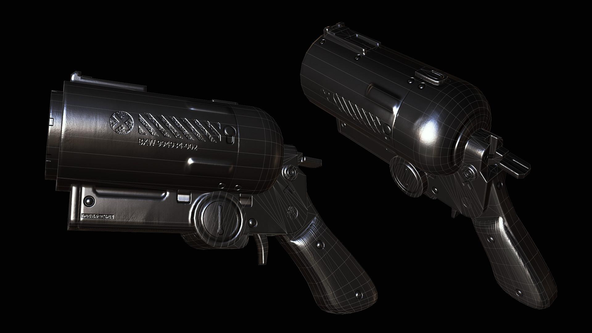 Sergey tyapkin scifi pistol wireframe