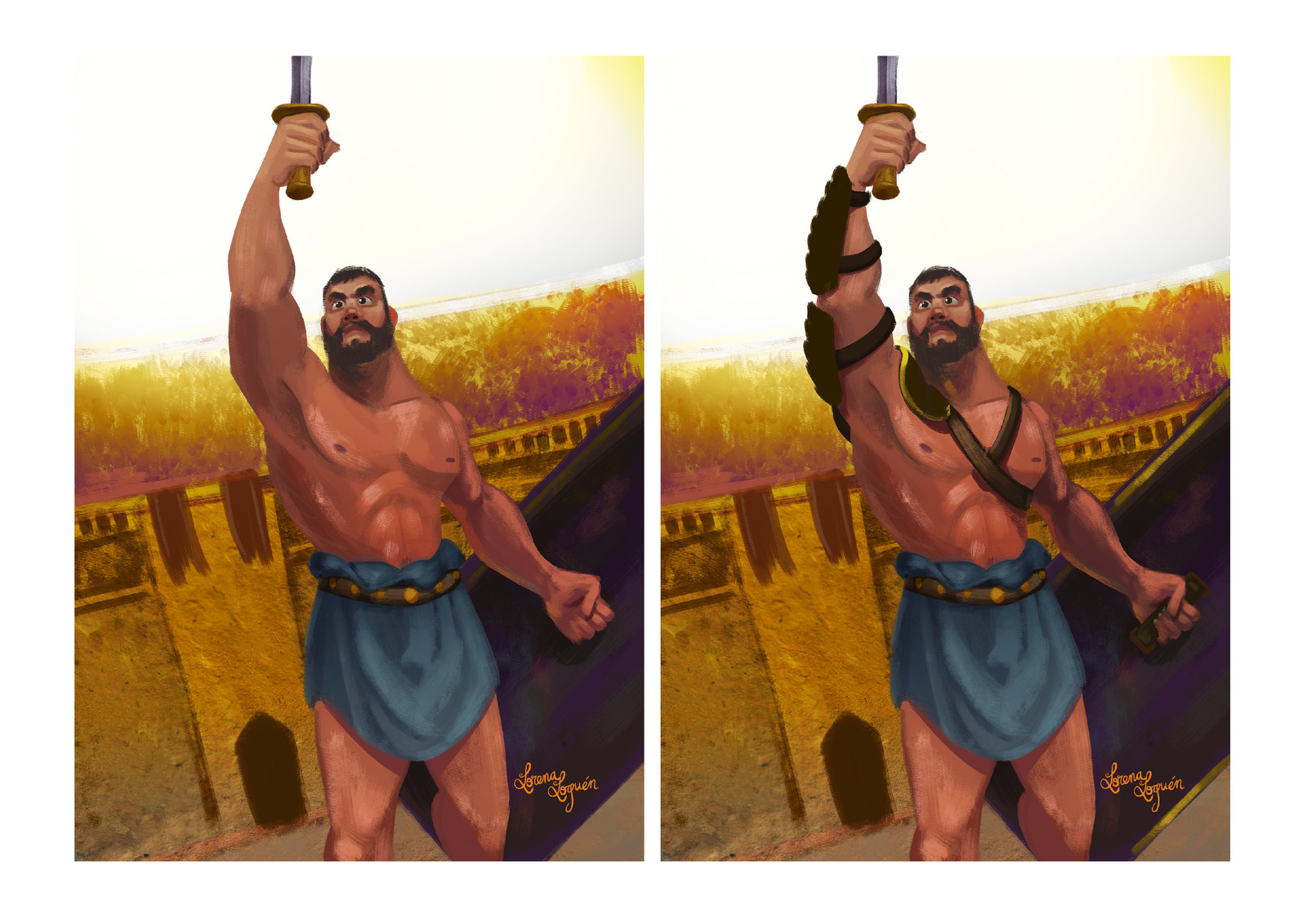 I applied a stone texture to the wall and defined general lighting.