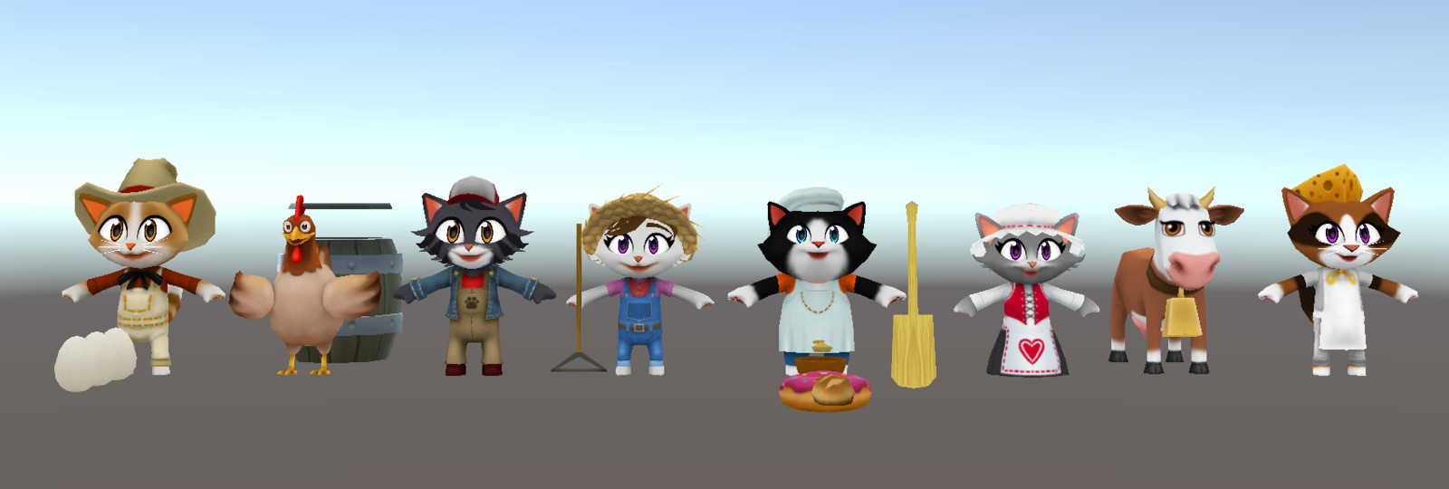 Modeled, Rigged and Animated for Kitty City while working at SGN/ Jam City in Seattle.