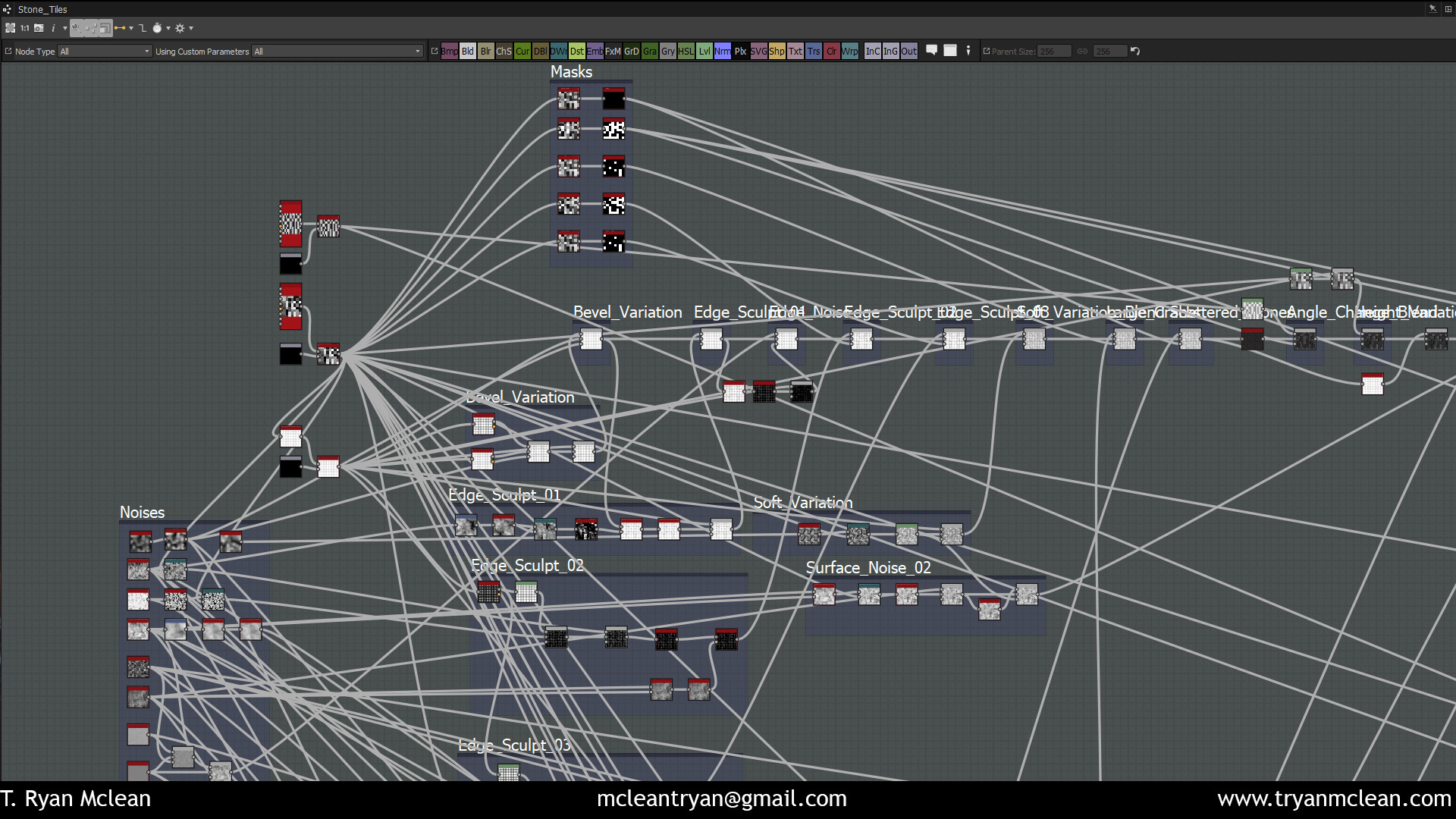 Top of the Substance node structure. Starting with tile samplers and working through to edge sculpting.