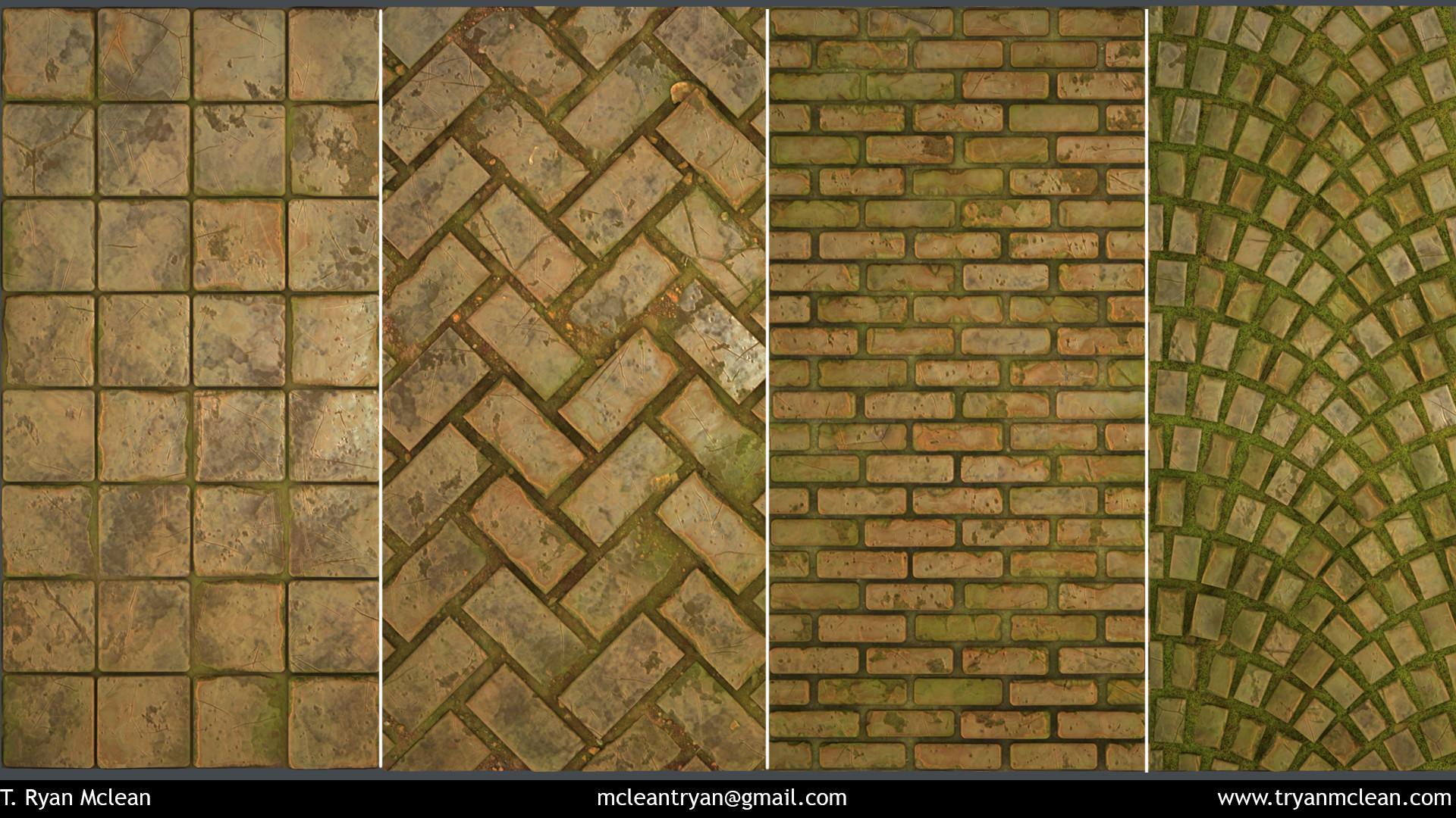 Flats of sample patterns. 8x8 tiles, herringbone, brick and arc cobblestone.