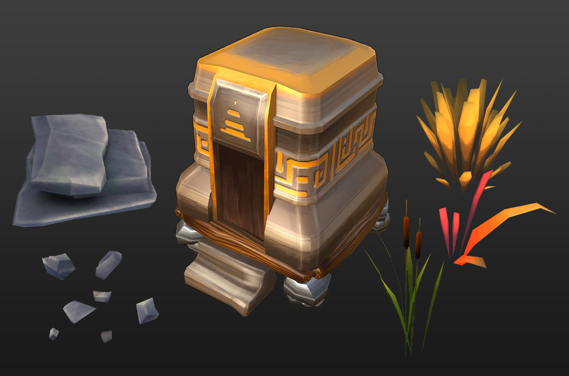 Creation, optimization and texturing of low-poly environment assets.