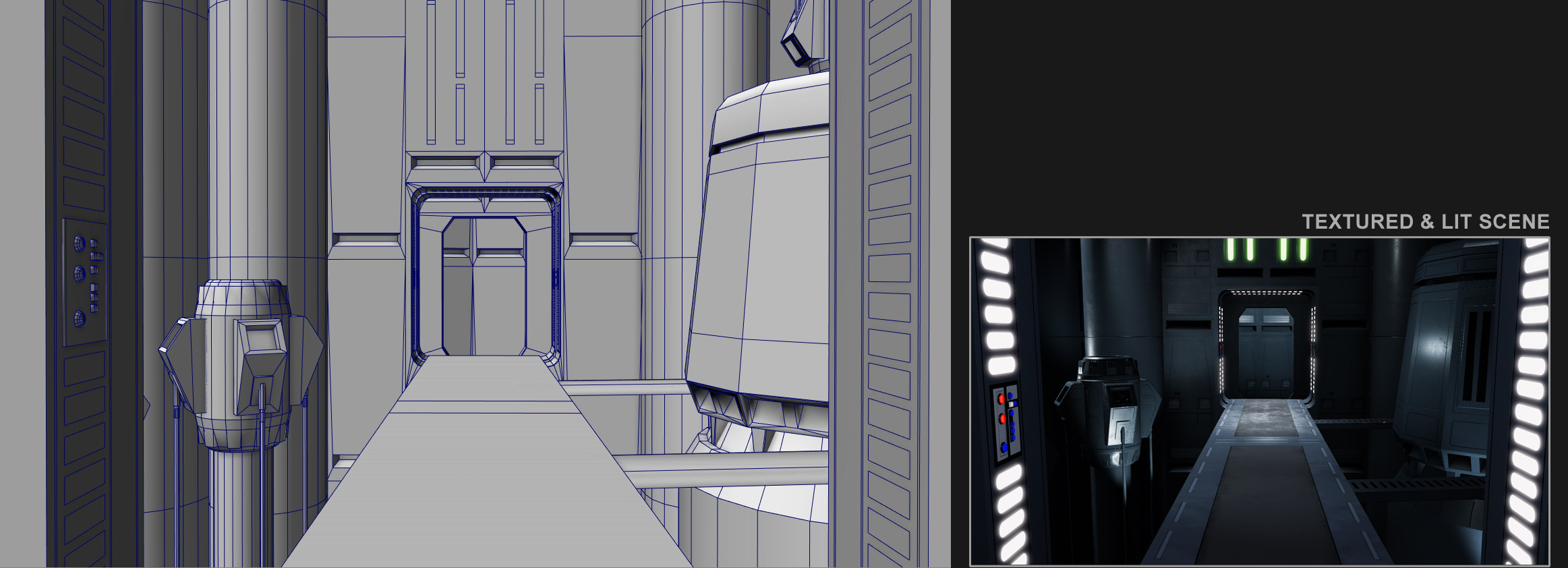 Wireframe on the left, Unity screenshot of the textured and lit geometry on the right.