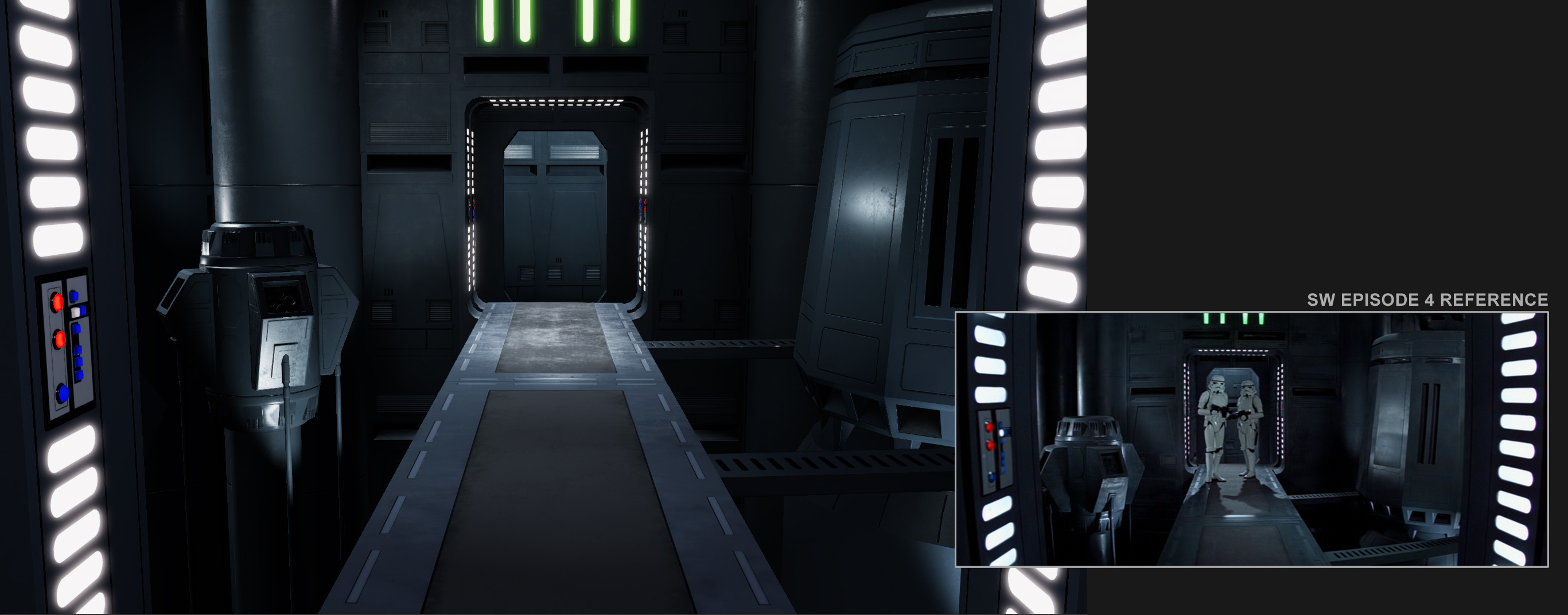 Unity screenshot. Still from the movie on the right for comparison.