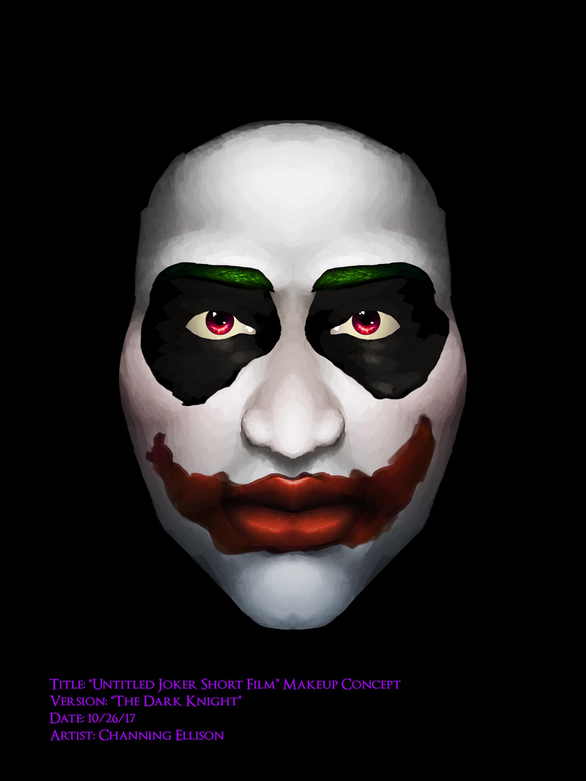 artstation - untitled joker short film makeup concept, channing ellison