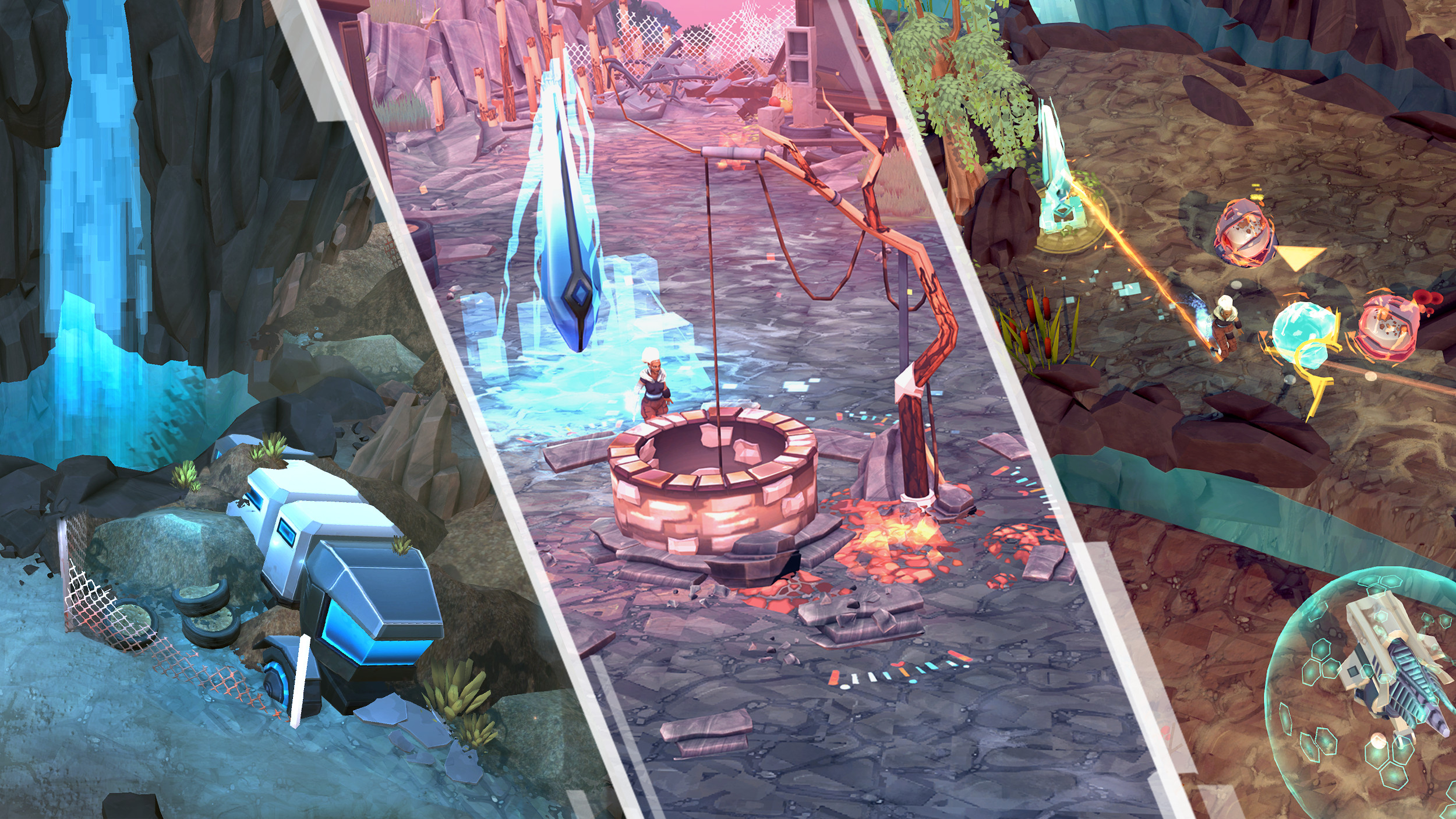 Afterward is set in a post-apocalyptic world submerged by water where the populations have returned to a tribal state of life. The player's avatar is a shaman who has survived the apocalypse and can use her knowledge of technology to fight monsters.