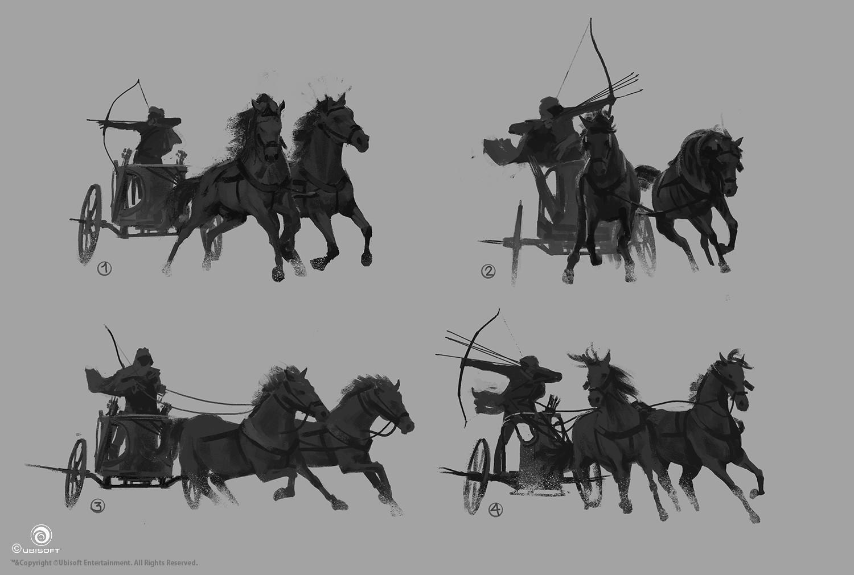 Martin deschambault aco bayek iconic pose chariot sketches mdeschambault