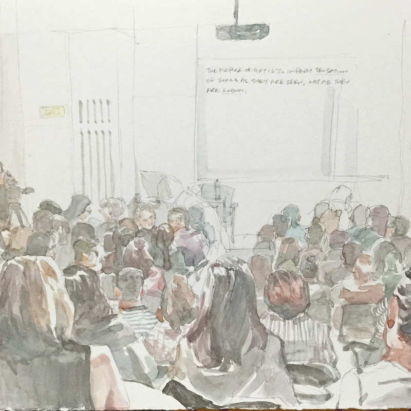 sketching a crowd.
