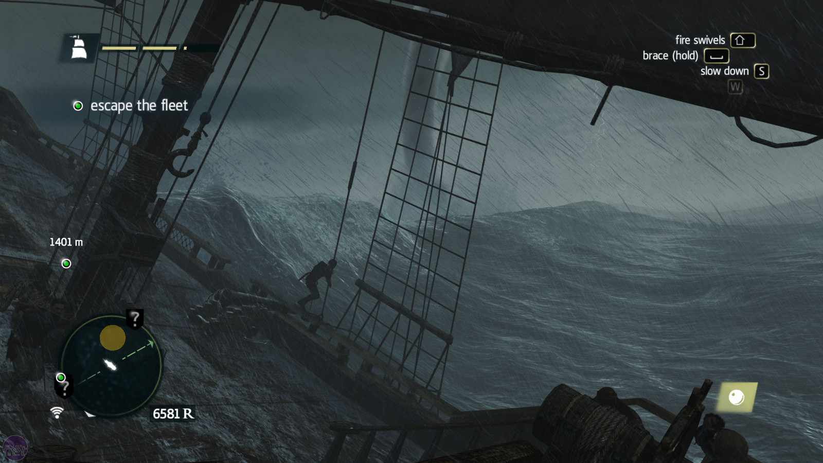 this unlucky sailer is getting hammered by a rogue wave and also water spout.