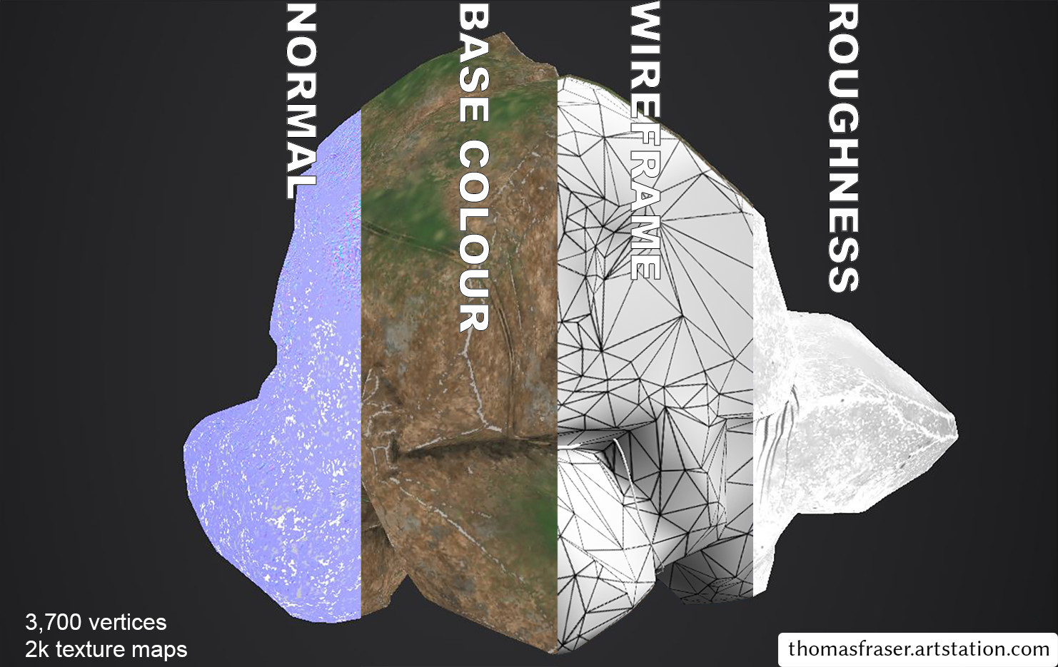 Vines and a boulder mesh with the different maps.