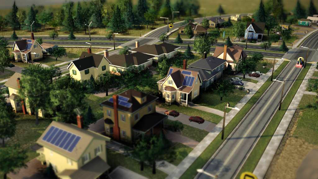 In- game screenshot of low density, mid- wealth residential buildings. I built these models for geometry detail and texturing benchmarks.