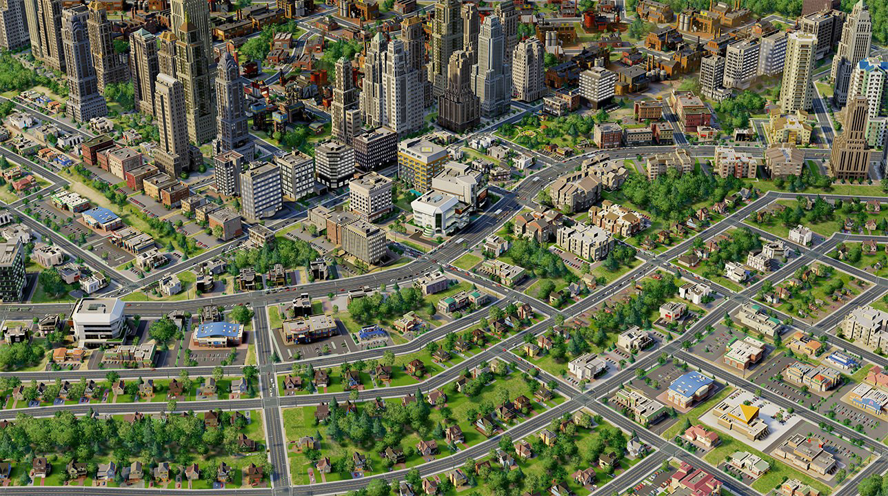 In- game screenshot of mid- wealth city