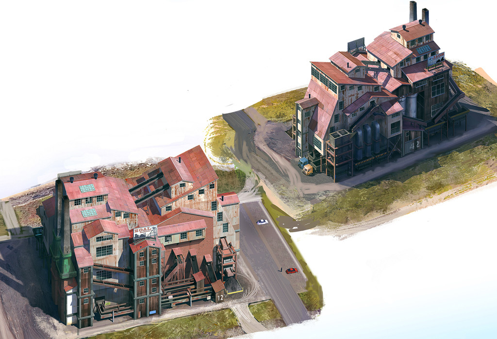 I provided art and design direction for this High- density, low- wealth industrial building concept art by Sperasoft