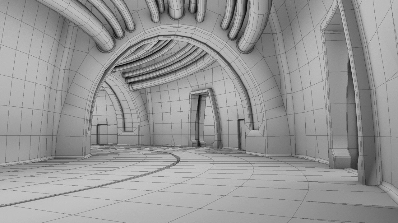 Dungeon corridor wireframe.