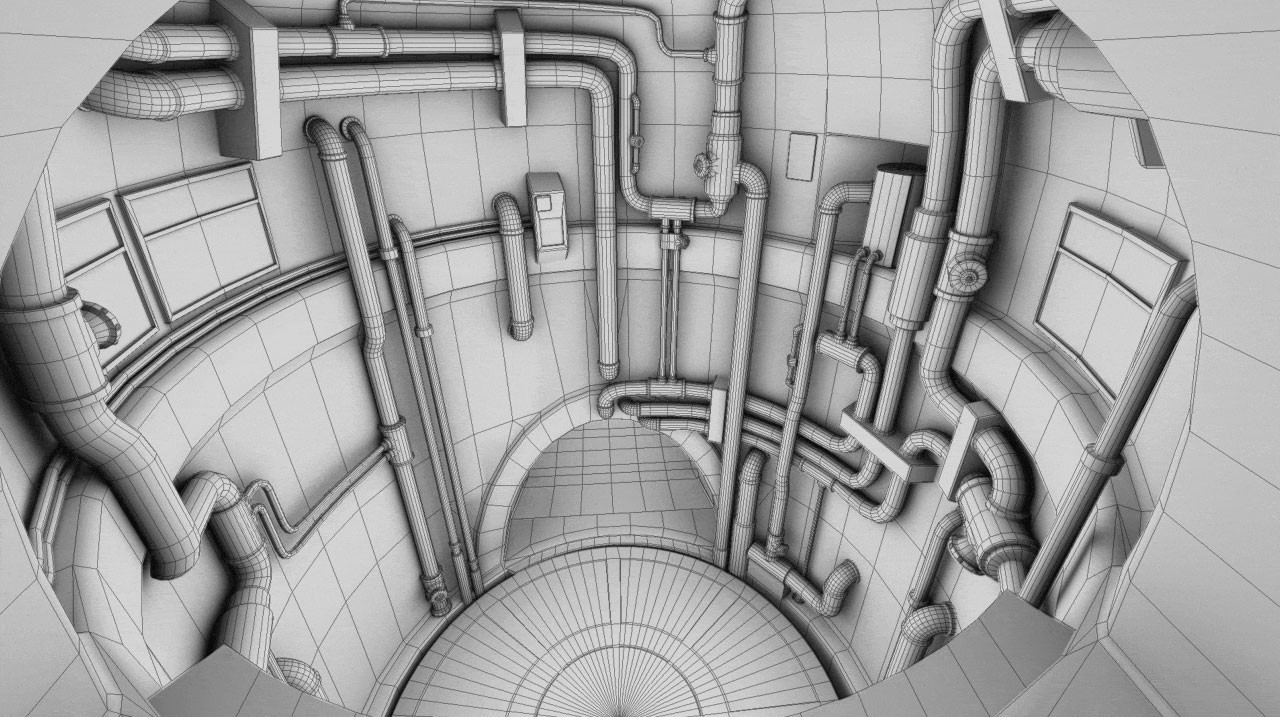 Elevator shaft wireframe.