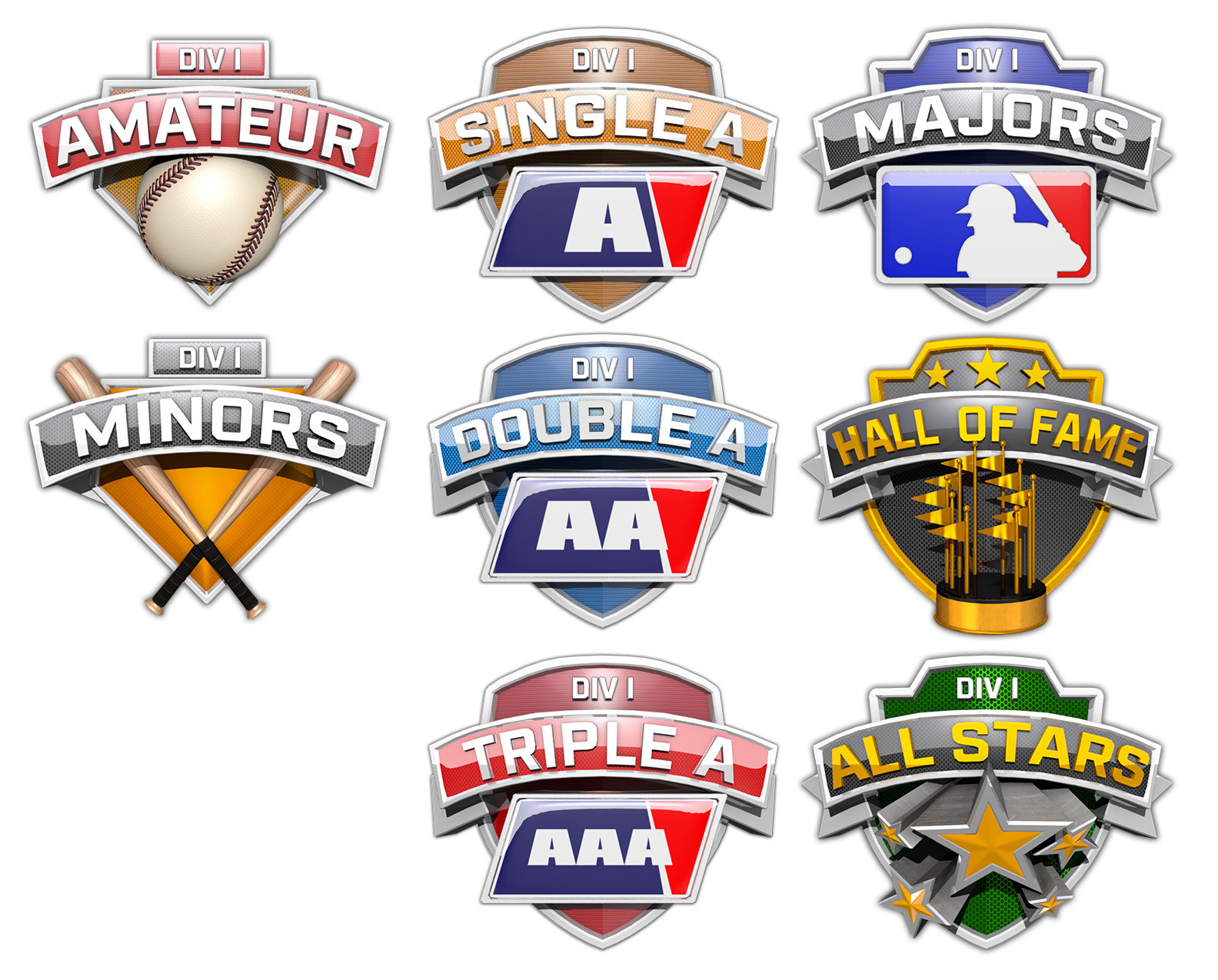 I designed, modeled, and rendered these Leagues badges in Maya