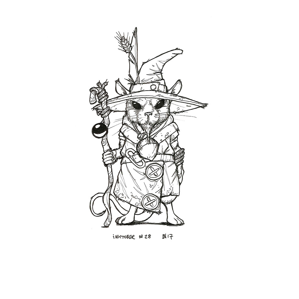 Inktober day 28. Mouse Wizard.