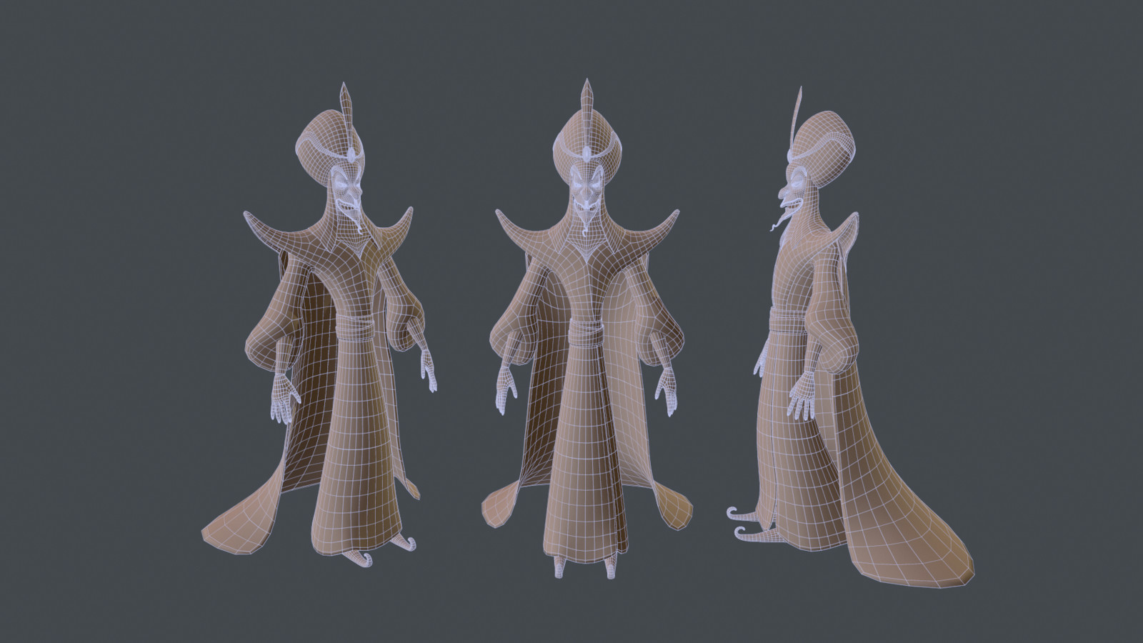 Wireframe before detail sculpting