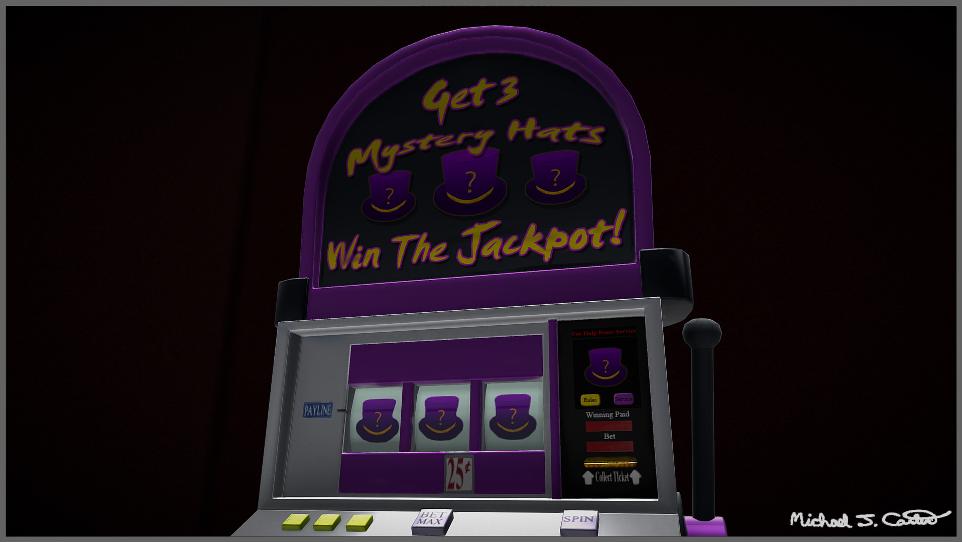 Michael jake carter mcarter slot machine close up view