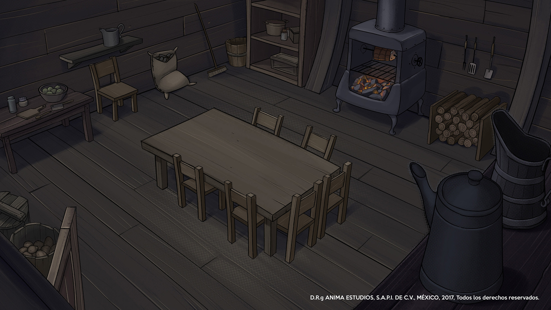 The kitchen inside the airship.