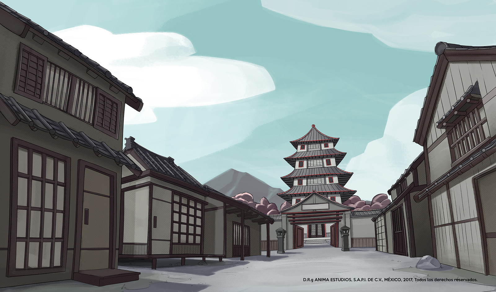 Street view of the japanese village.