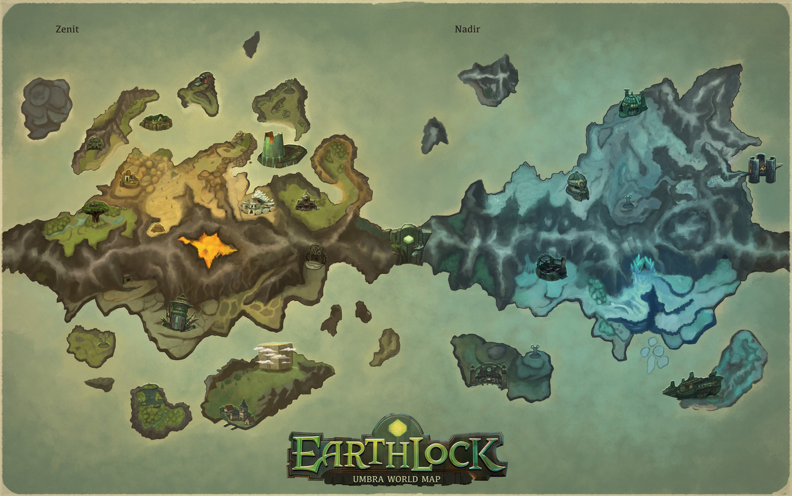 The prototype concept for the world map. Here we envisioned the entire world for a potensial RPG franchise.