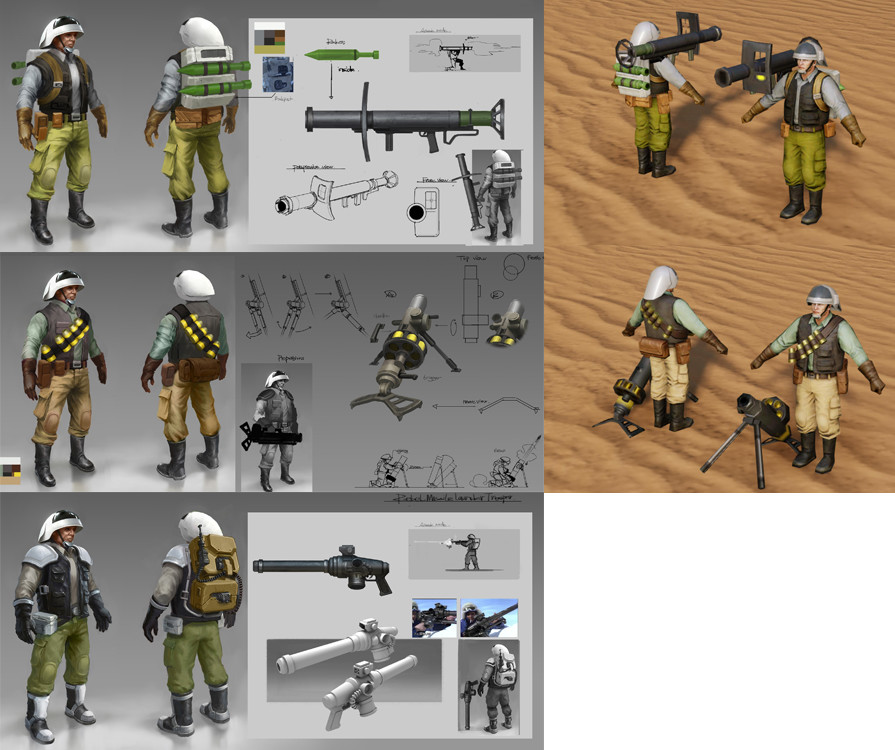 I provided art direction for these rebel soldier concepts and the 3D assets. I did final tuning and polish of the PBR textures and materials.