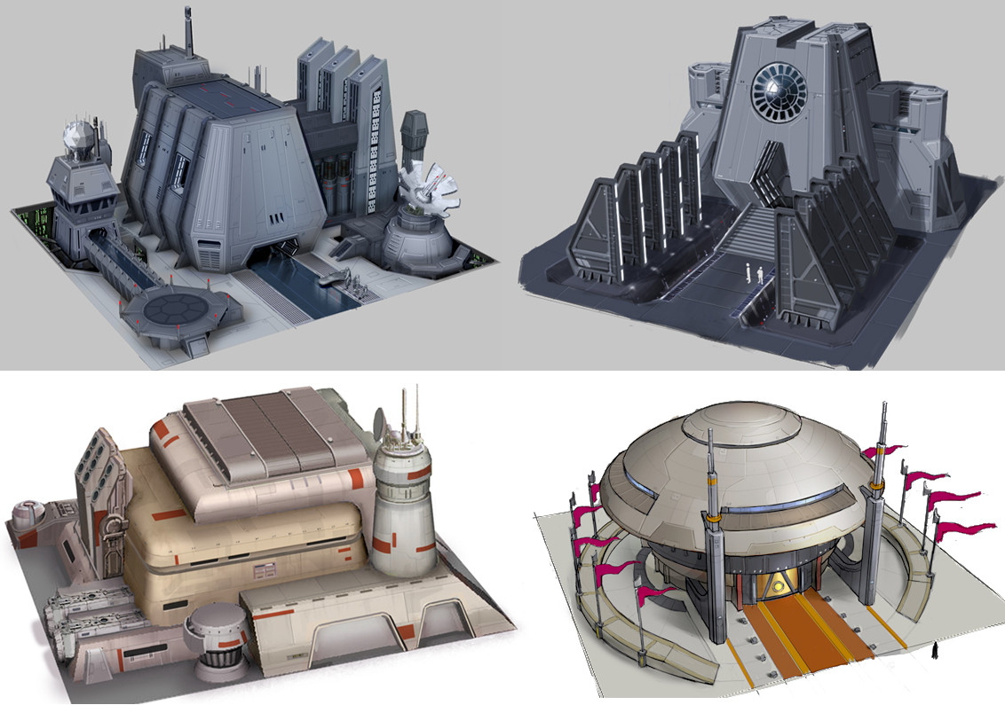 """I art directed these concepts illustrating the differences in design language, color, and shape between """"light"""" and """"dark"""" side buildings. The concepts were painted by Jeung Keum"""