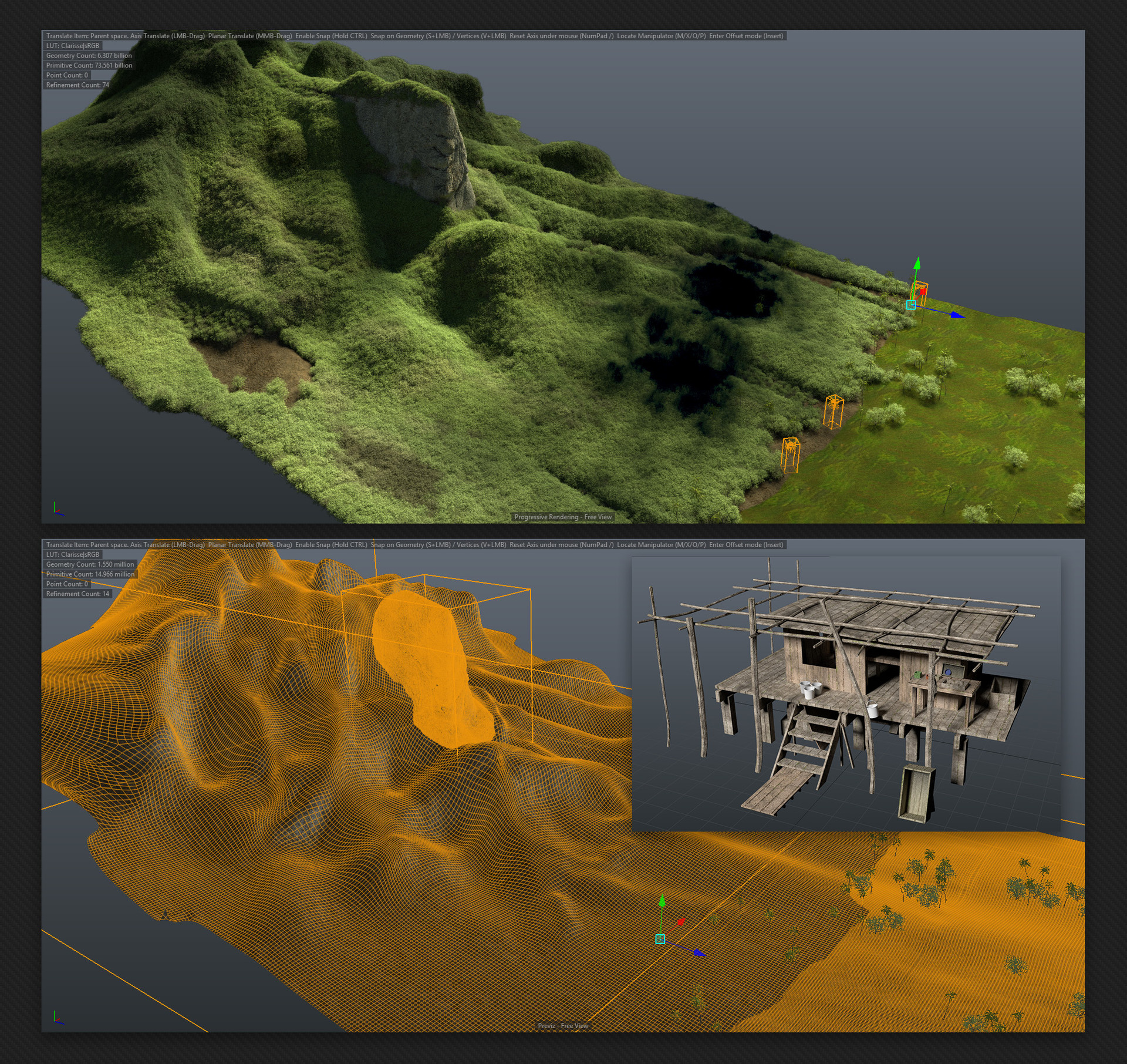 Aerial preview and low poly cabin model in Clarisse 3d view