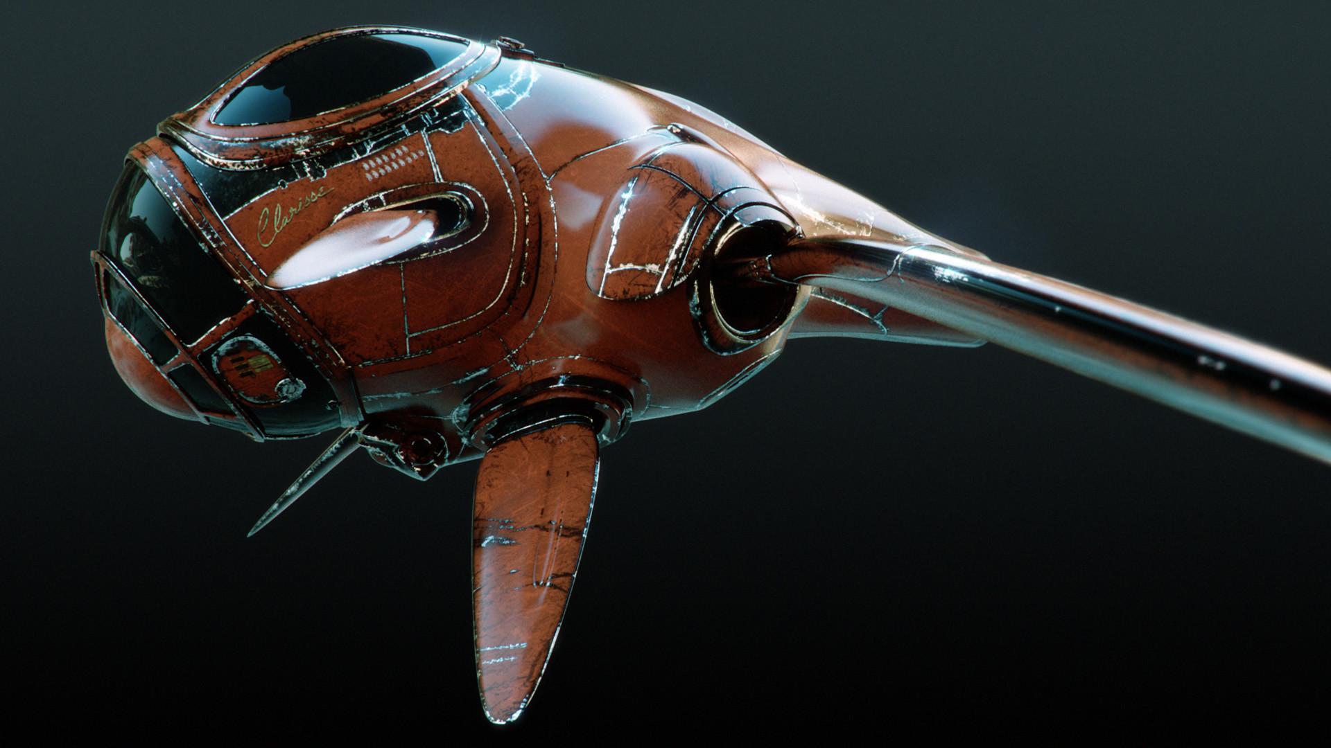 Clarisse render of the spaceship. Legacy shaders.