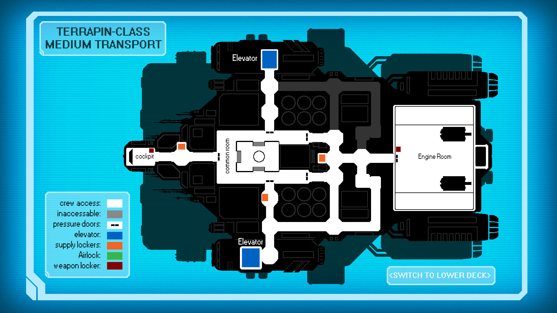 Map screen, upper level. I had to make up a lot of spaceship information to make sense of the twisting hallways.