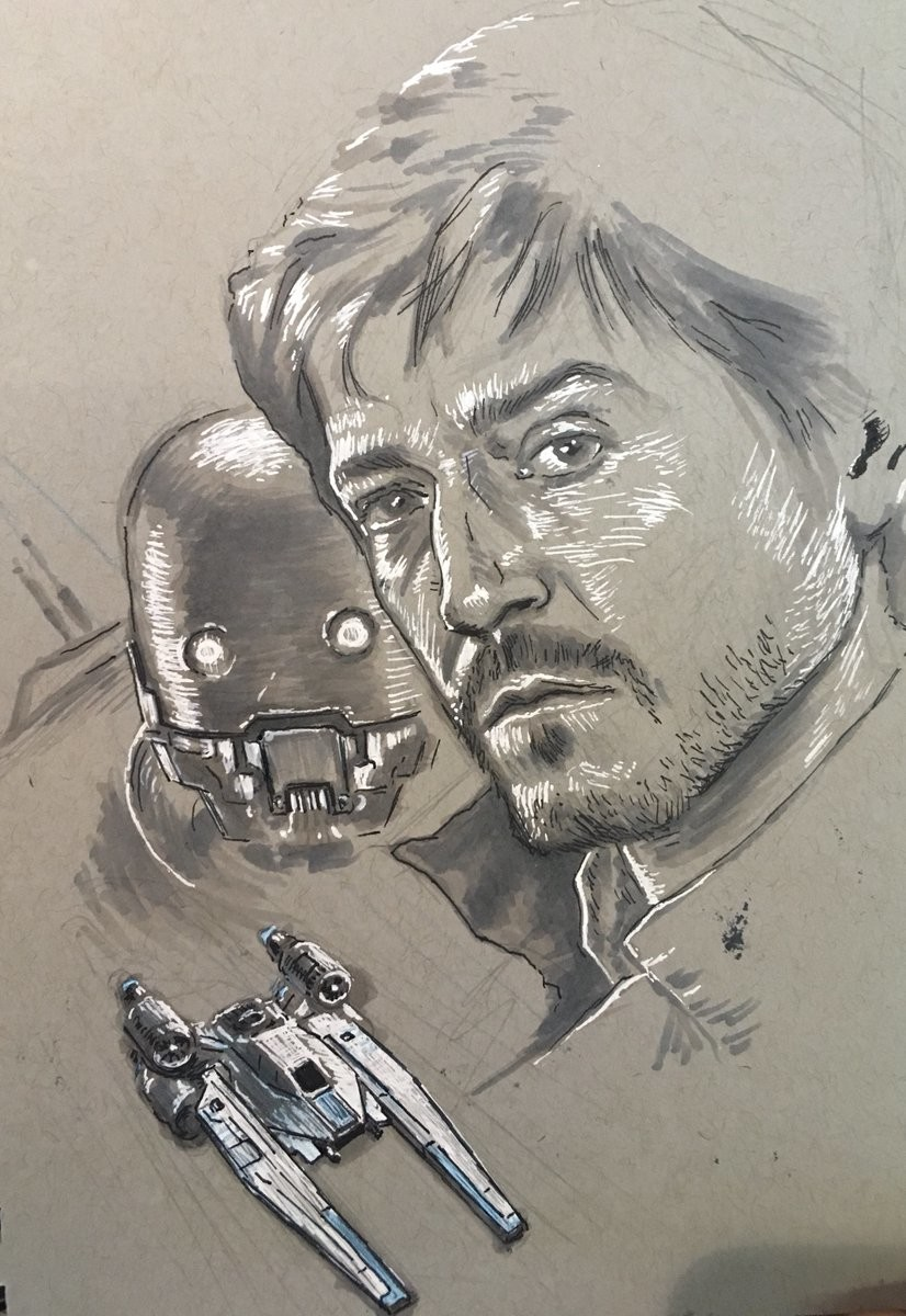 Cassian Andor, K-2SO, and U-Wing. Prismacolor markers, ink, white gel pen.