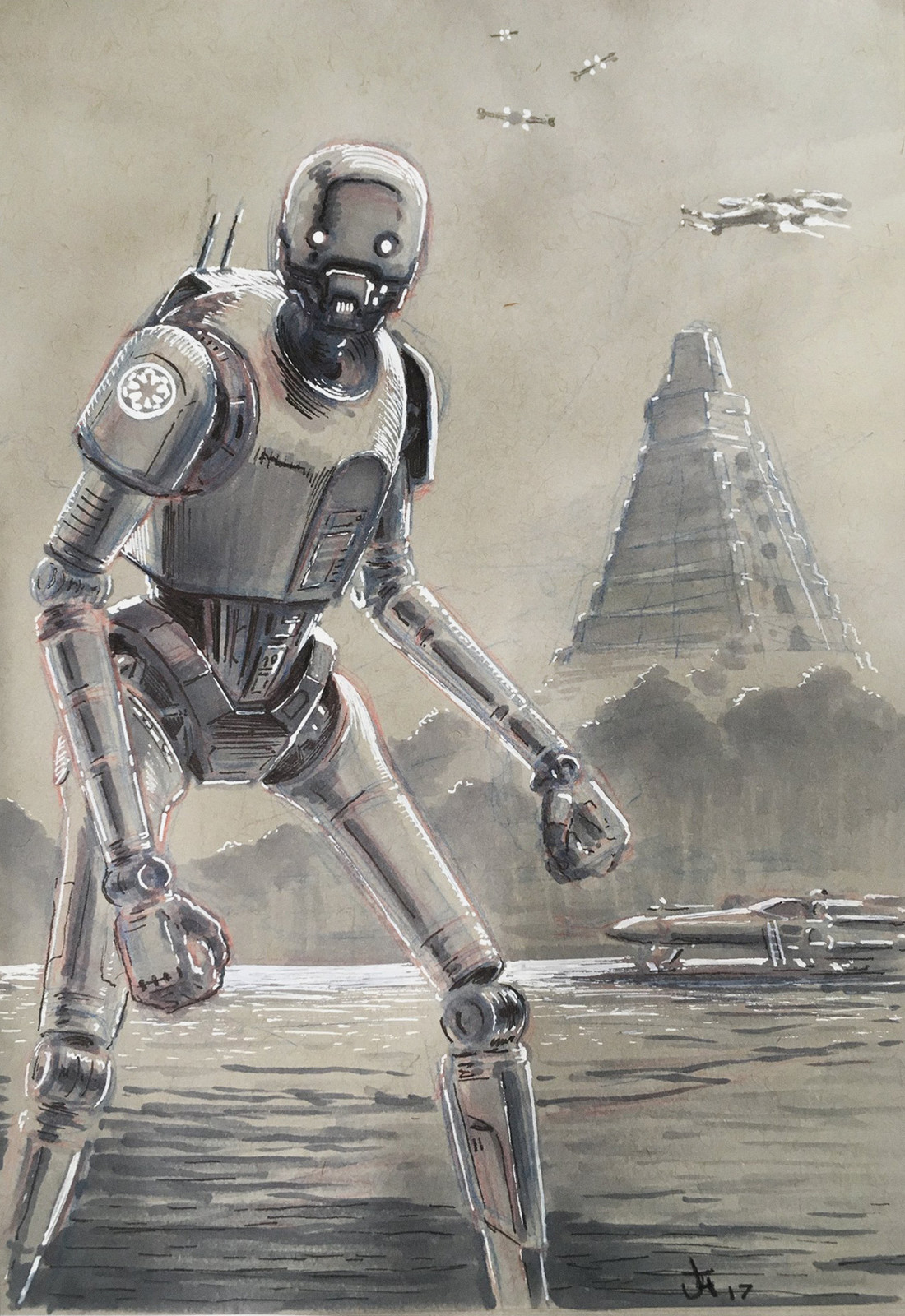 K-2SO. Prismacolor markers, ink, white gel pen. Convention commission.