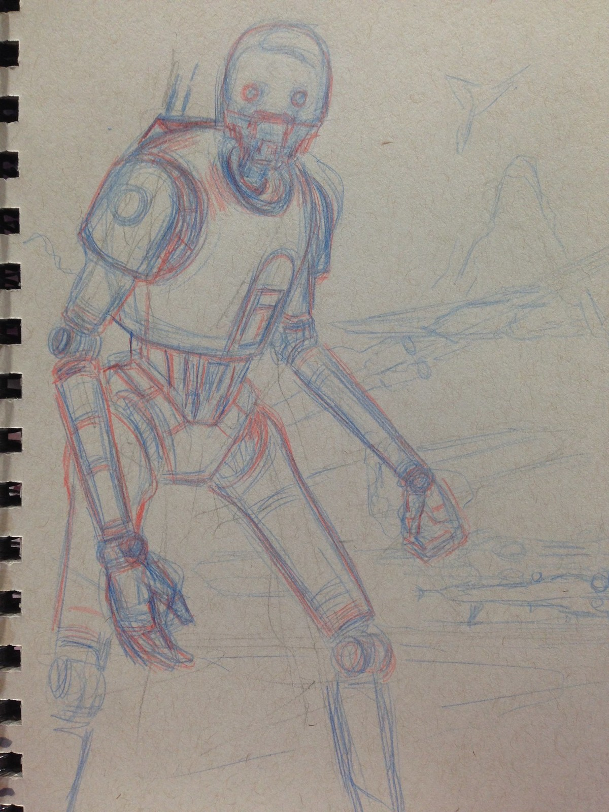 K-2SO. Early WIP with blue and red pencils.