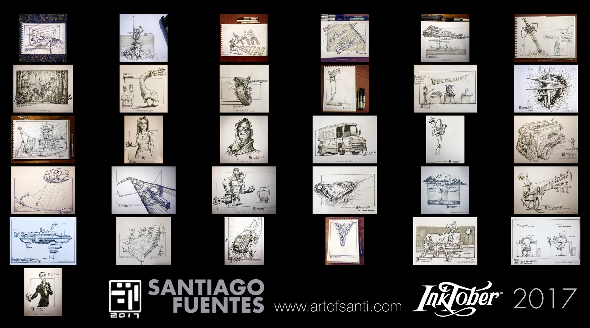 Santiago fuentes inktober contact sheet