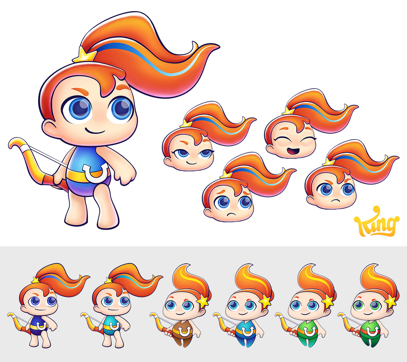 Final design of the Sagittarius character with a set of expressions. Done in Illustrator, polished in Photoshop, exported for animation in Spine. Below, color researches.