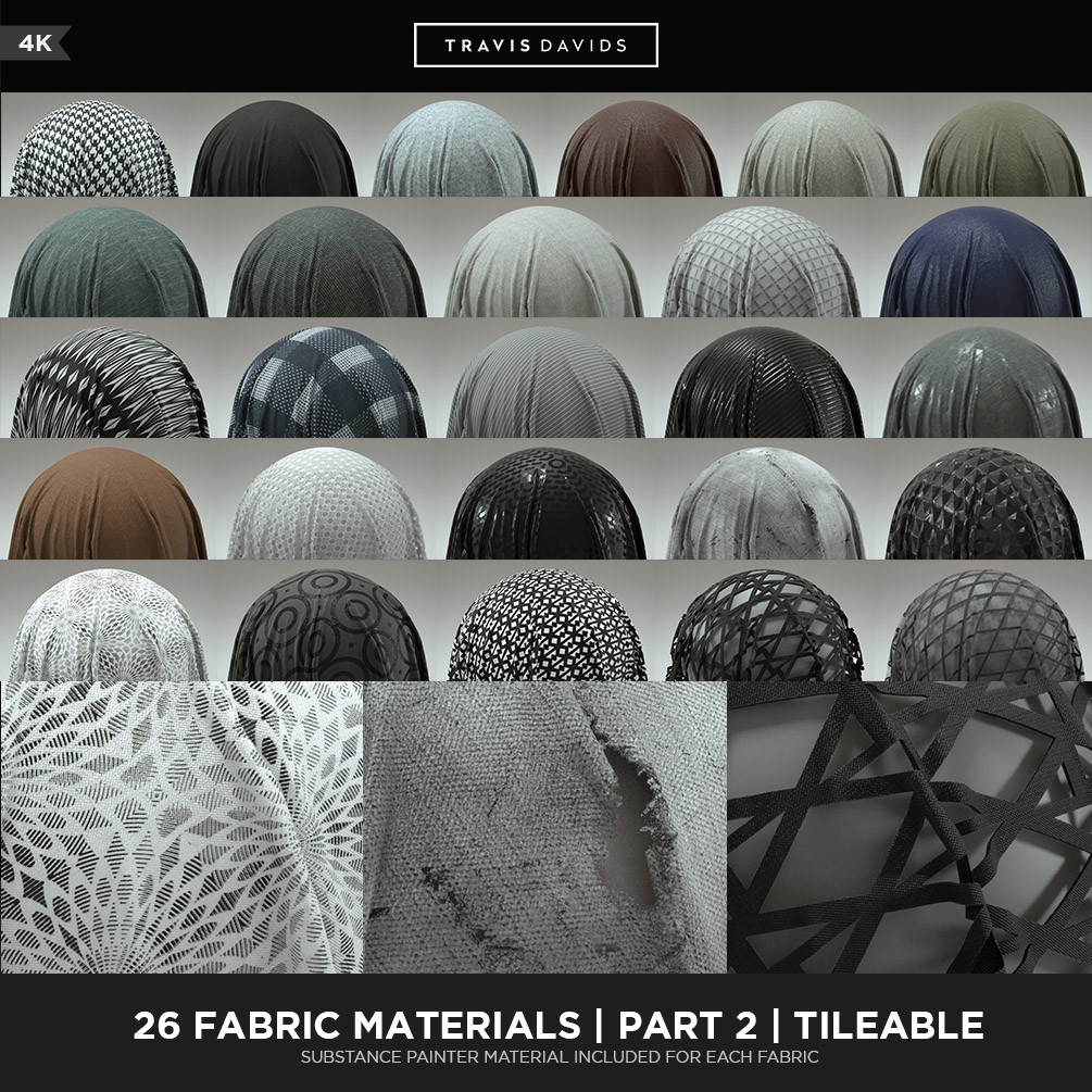 24 4K Tileable Fabric Materials Part 1 -  https://gum.co/nYGRM